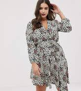 John Zack Plus Long Sleeve Wrap Tie Waist Dress In Floral Leopard Multi On Sale For 40 From Original Price Of 100 At Asos