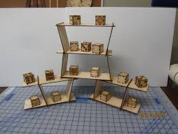 miniature table top shelving display case very customizable highly configurable stackable laser cut wood and acrylic
