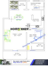 free 1200 sq ft single bedroom house plan