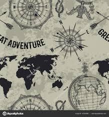ретро карта бесшовный узор с старинный глобус компас карта мира и