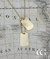 personalised men s solid 9ct yellow gold double dog tag pendant necklace
