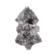 home republic mongolian sheepskin grey white tip rug