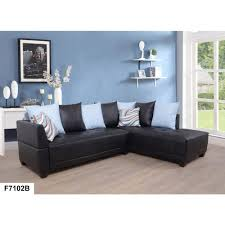 dark brown faux left leather sectional sofa set 2 piece sh7102b the