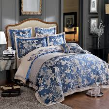 6pc luxury chinese silk duvet cover set dark blue and grey jacquard and embroidery bedding sets royal blue duvet queen king size in bedding sets from home