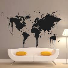2016 art new design home decoration spray paint world map wall