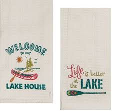 details about kay dee designs lake house embroidered kitchen towels set hand towels with