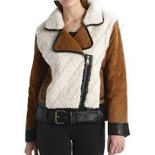 women suede and shearling half zip biker jacket