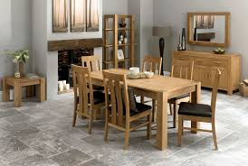 bentley designs lyon oak 150cm dining table 6 slatted back leather chairs me home furnishings