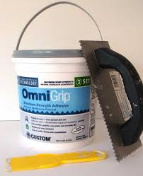 glass tile adhesive and trowel