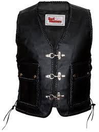 leather motorcycle vest leathervest bikervest black 001
