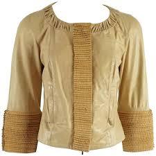 fendi tan leather jacket with fringe detail w bracelet sleeve 40 for