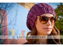 Knit Beanie Pattern Gorgeous Knit Hat Pattern Knitting Pattern Slouchy Beret Knitted Etsy