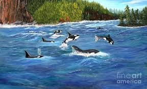 Orcas Painting by Myrna Walsh