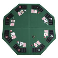 48 green octagon 8 player four fold folding table top carrying case