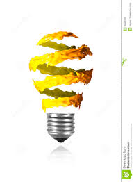 Amber Light Bulb Paint Yellow Orange Spiral Paint Trace Made Light Bulb Stock Photo