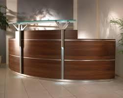 small office reception desk. Decorations, Semi Circular Wooden IKEA Reception Desk For Small Office Design And Beige Ceramic Floor: Fantastic Ideas K