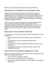 research paper on time management useful guidelines to  research paper on time management useful guidelines to write