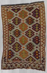 1623 embroidered vintage kilim rug