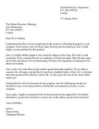 Sample Letter Of Recommendation Employee Recommendation Letter From Employer Sample Employment Reference