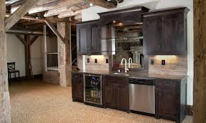 Modern Rustic Basement Bar Kitchen Design Ideas With Dark Wall Mount Wooden Cabinet And Stainless Steel Stove Idea Top