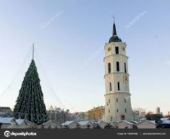 Bell Tower Tree Lighting Christmas Tree And Cathedral Bell Tower Lithuania In Vilnius