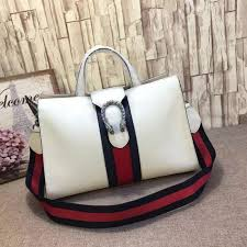 gucci dionysus leather top handle bag white 444167