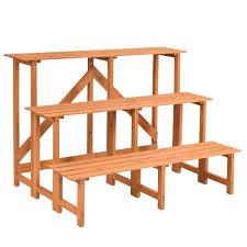 3 step wooden ladder 3 tier wide wood flower pot step ladder plant stand 3 step wooden ladder