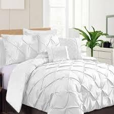 7 piece pinch pleat comforter set white