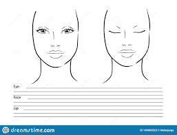 Chart Makeup Face Chart Makeup Artist Blank Template Illustration