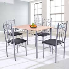 5pcs wood and metal dining set table and 4 chairs home kitchen modern new