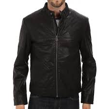 zipper closure black leather jacket zoom men s
