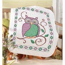 Patchwork Hearts Lap Quilt Top - St&ed Cross Stitch Kit   Cross ... & Classic Owl Lap Quilt Stamped for Cross-Stitch Kit - Herrschners Adamdwight.com