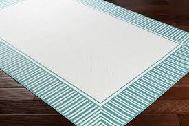 alfresco bordered teal white area rug contemporary outdoor rugs by whole living
