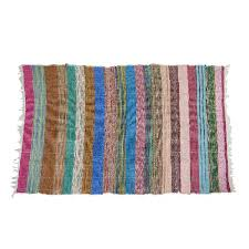 recycled cotton chindi rug multicolor indian hand woven
