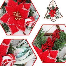 16 Zoll Weihnachten Weinrebe Kranz Kleiderbügel Für Haustür Klingglöckchen Girlanden Weihnachtsstern Mit Roten Beeren Glitzer Zierschmuck Für Home