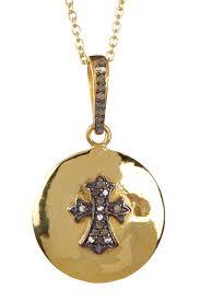 forever creations usa inc gold vermeil diamond classic cross disc pendant necklace 0 21 ctw