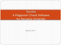 turnitin a plagiarism check software for tta  1 2013 turnitin a plagiarism check software for tta university