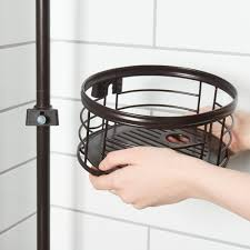 tension pole shower caddy oil rubbed removable storage basket bronze bathroom