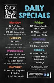 specials menu daily specials city tap and grill