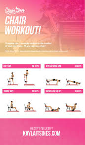 Chair Gym Exercise Chart Chair Workout Kayla Itsines