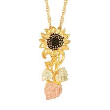 beautiful black hills gold sunflower pendant in 10k yellow gold g 20078 g 20078