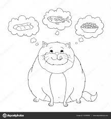 Grappige Cartoon Fatcat Denken Over Worst Vis Voedsel Vector