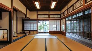 A shoin style room with the built-in desk in the left background