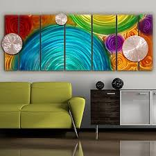 elation too vibrant blue green and yellow multi colored metal wall on colorful metal wall art decor with multicolor