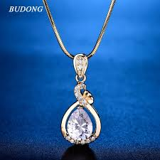 2019 budong fashion teardrop pink crystal slide pendant with snake chain necklace silver gold color cubic zirconia jewelry xup005 from meetamo
