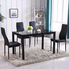 glass dining room table with leather chairs. dining room:round glass dinette sets round table with 4 chairs room leather h