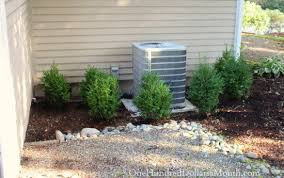air conditioning unit. planting around an air conditioning unit with boxwoods