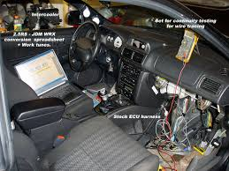 sam s car working on the interior swap integrating wire harnesses