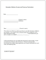 Lease Violation Form Tenant Rental Termination Notice Template Lease Sample Letter To