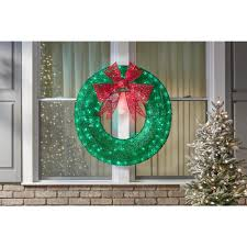Green Tinsel Wreath With Twinkling Lights 36 In Green Tinsel Wreath With Twinkling Lights Walmart Com